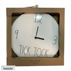 """Rae Dunn Ceramic 9"""" TICK TOCK  Wall Clock"""